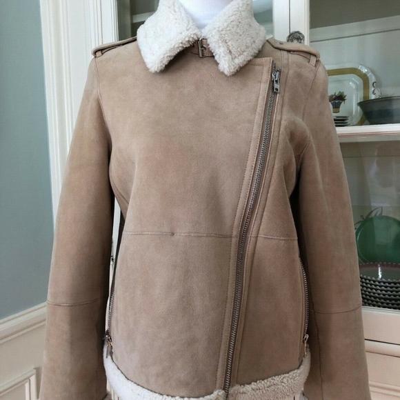 NWT Kate Spade Suede Shearling Jacket, Medium